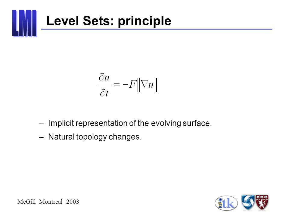 McGill Montreal 2003 Level Sets: principle –Implicit representation of the evolving surface.