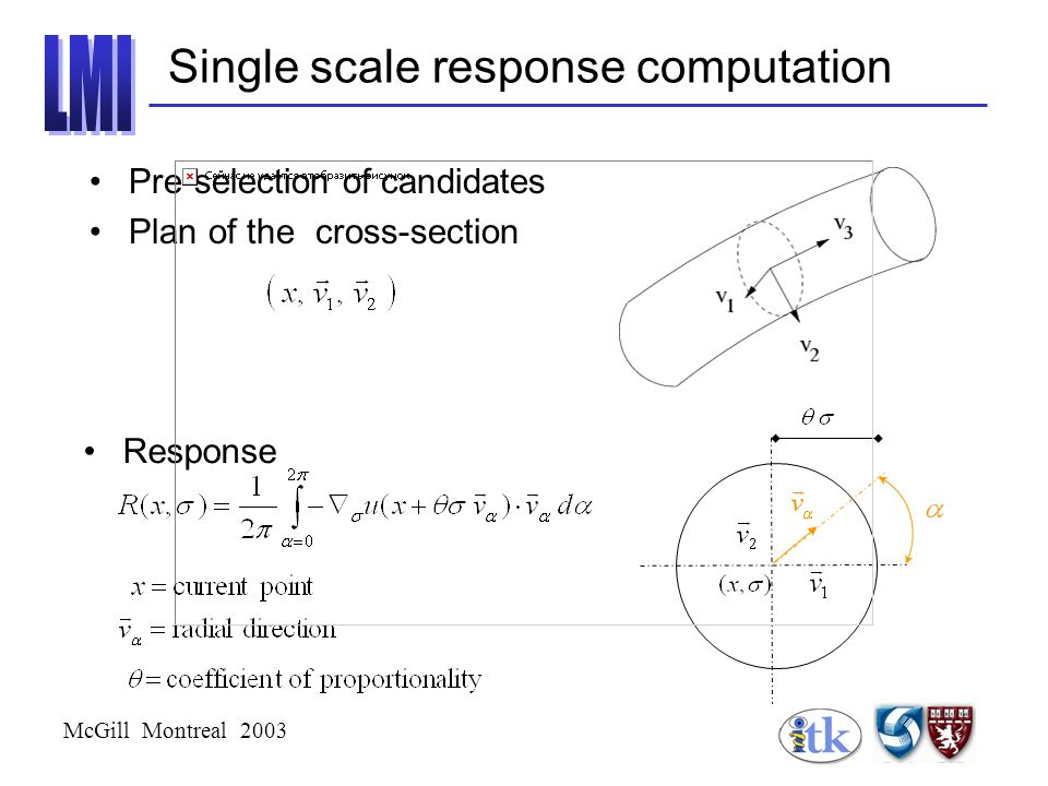 McGill Montreal 2003 Single scale response computation Pre-selection of candidates Plan of the cross-section Response