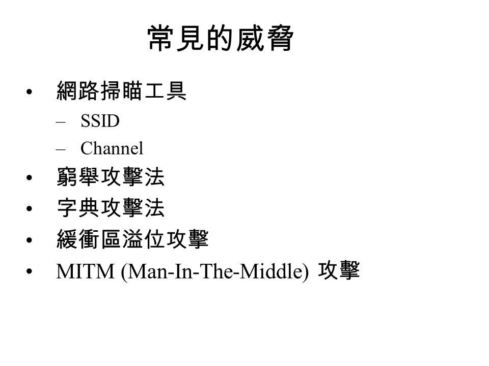 常見的威脅 網路掃瞄工具 –SSID –Channel 窮舉攻擊法 字典攻擊法 緩衝區溢位攻擊 MITM (Man-In-The-Middle) 攻擊