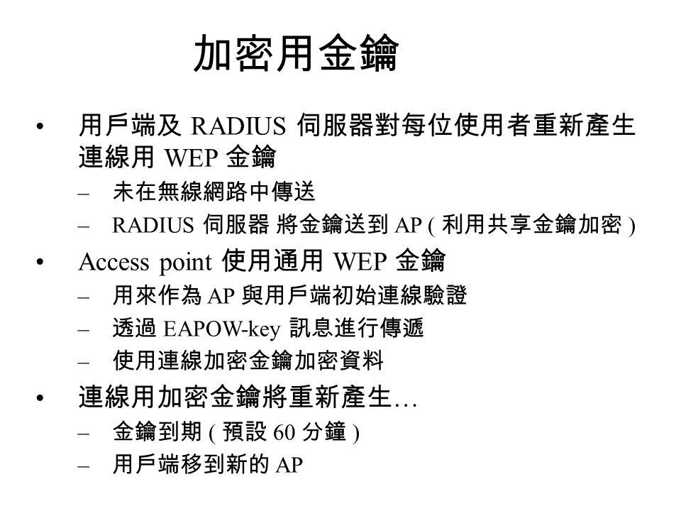 加密用金鑰 用戶端及 RADIUS 伺服器對每位使用者重新產生 連線用 WEP 金鑰 – 未在無線網路中傳送 –RADIUS 伺服器 將金鑰送到 AP ( 利用共享金鑰加密 ) Access point 使用通用 WEP 金鑰 – 用來作為 AP 與用戶端初始連線驗證 – 透過 EAPOW-key 訊息進行傳遞 – 使用連線加密金鑰加密資料 連線用加密金鑰將重新產生 … – 金鑰到期 ( 預設 60 分鐘 ) – 用戶端移到新的 AP