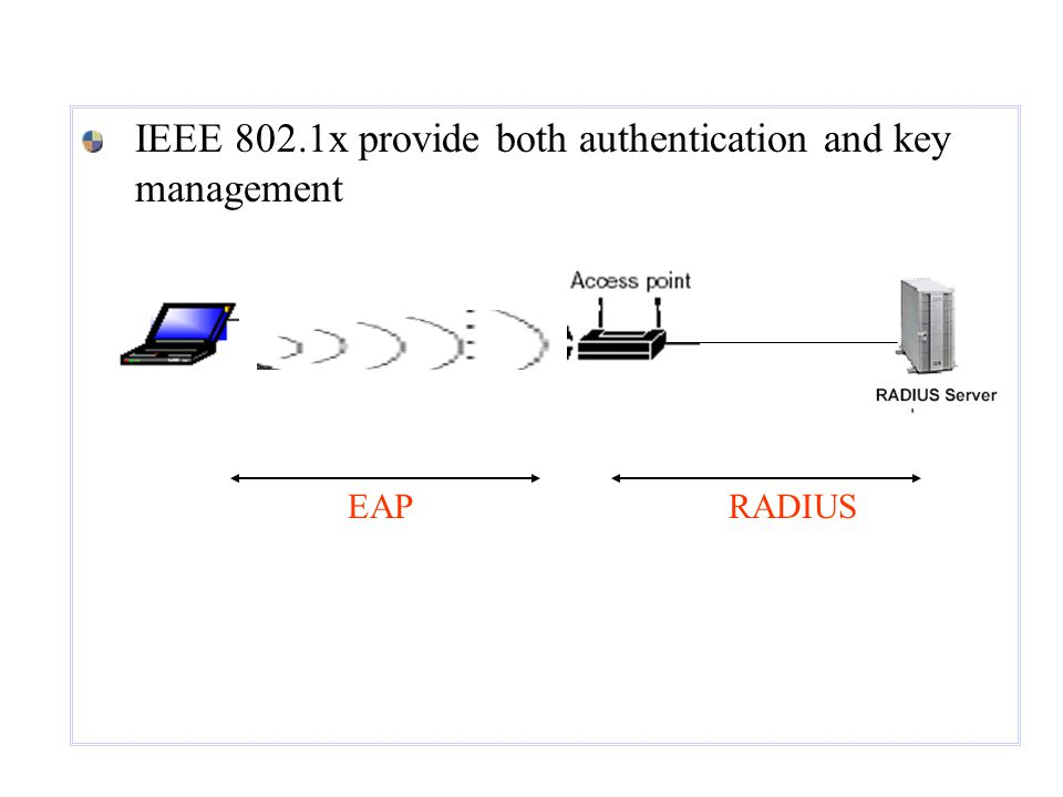 IEEE 802.1x provide both authentication and key management EAPRADIUS
