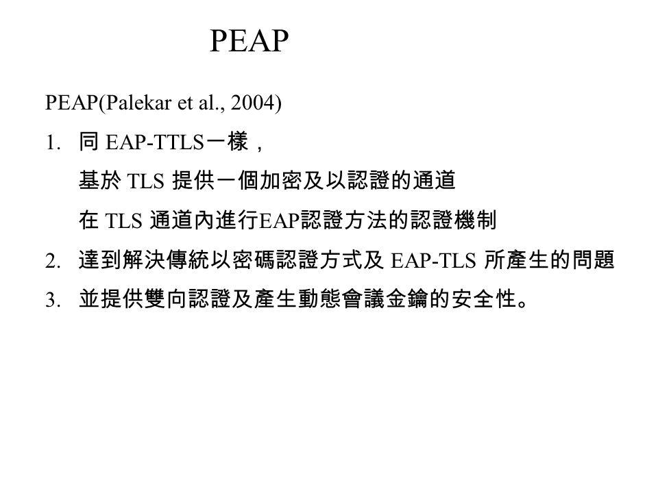 PEAP(Palekar et al., 2004) 1.同 EAP-TTLS 一樣, 基於 TLS 提供一個加密及以認證的通道 在 TLS 通道內進行 EAP 認證方法的認證機制 2.