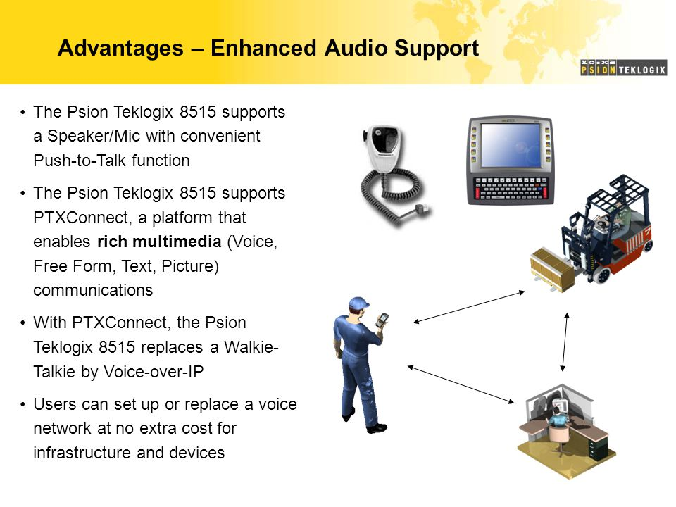 Advantages – Enhanced Audio Support The Psion Teklogix 8515 supports a Speaker/Mic with convenient Push-to-Talk function The Psion Teklogix 8515 supports PTXConnect, a platform that enables rich multimedia (Voice, Free Form, Text, Picture) communications With PTXConnect, the Psion Teklogix 8515 replaces a Walkie- Talkie by Voice-over-IP Users can set up or replace a voice network at no extra cost for infrastructure and devices