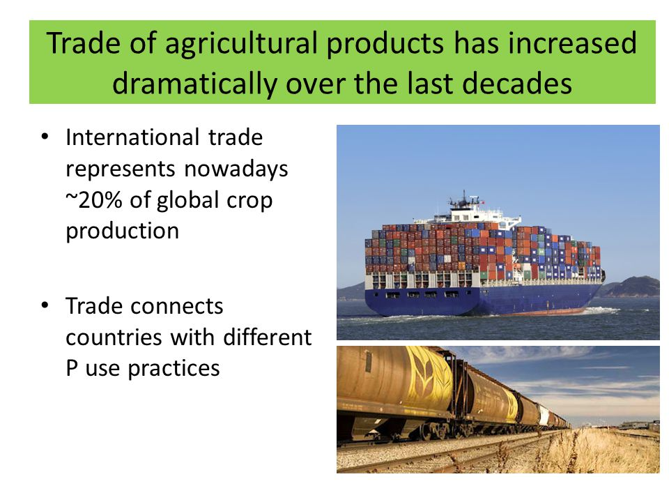 Trade of agricultural products has increased dramatically over the last decades International trade represents nowadays ~20% of global crop production Trade connects countries with different P use practices