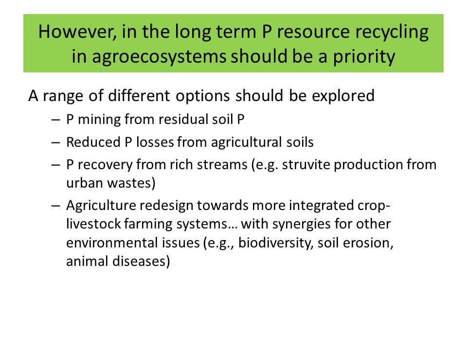 However, in the long term P resource recycling in agroecosystems should be a priority A range of different options should be explored – P mining from residual soil P – Reduced P losses from agricultural soils – P recovery from rich streams (e.g.