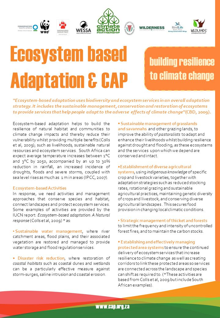 Ecosystem-based adaptation helps to build the resilience of natural habitat and communities to climate change impacts and thereby reduce their vulnerability whilst providing multiple benefits (Colls et al, 2009); such as livelihoods, sustainable natural resources and ecosystem services.