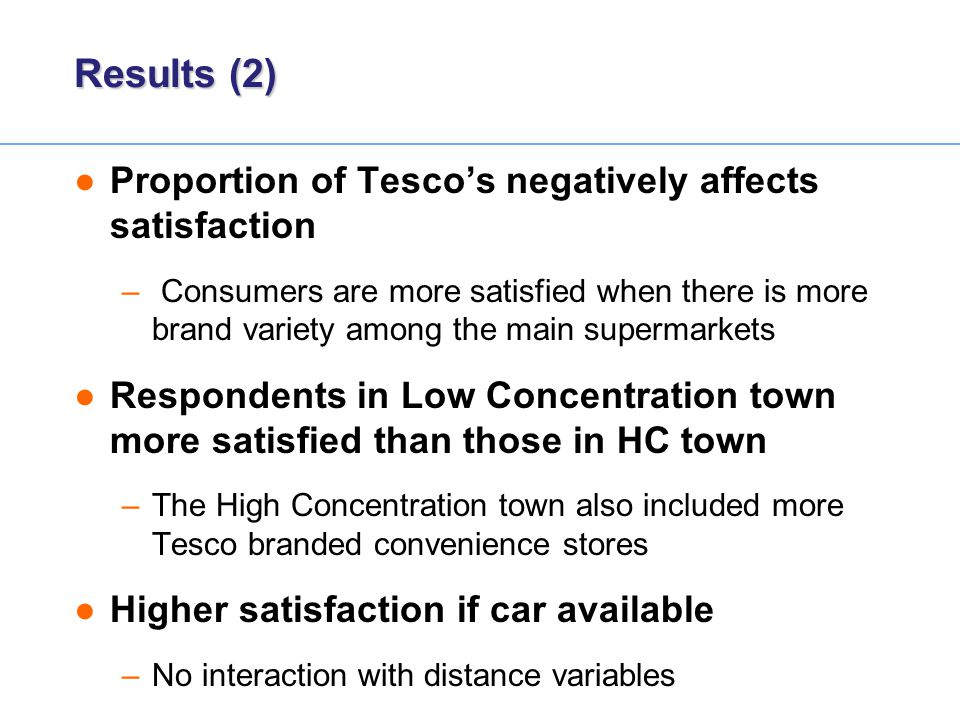 Results (2) ●Proportion of Tesco's negatively affects satisfaction – Consumers are more satisfied when there is more brand variety among the main supe
