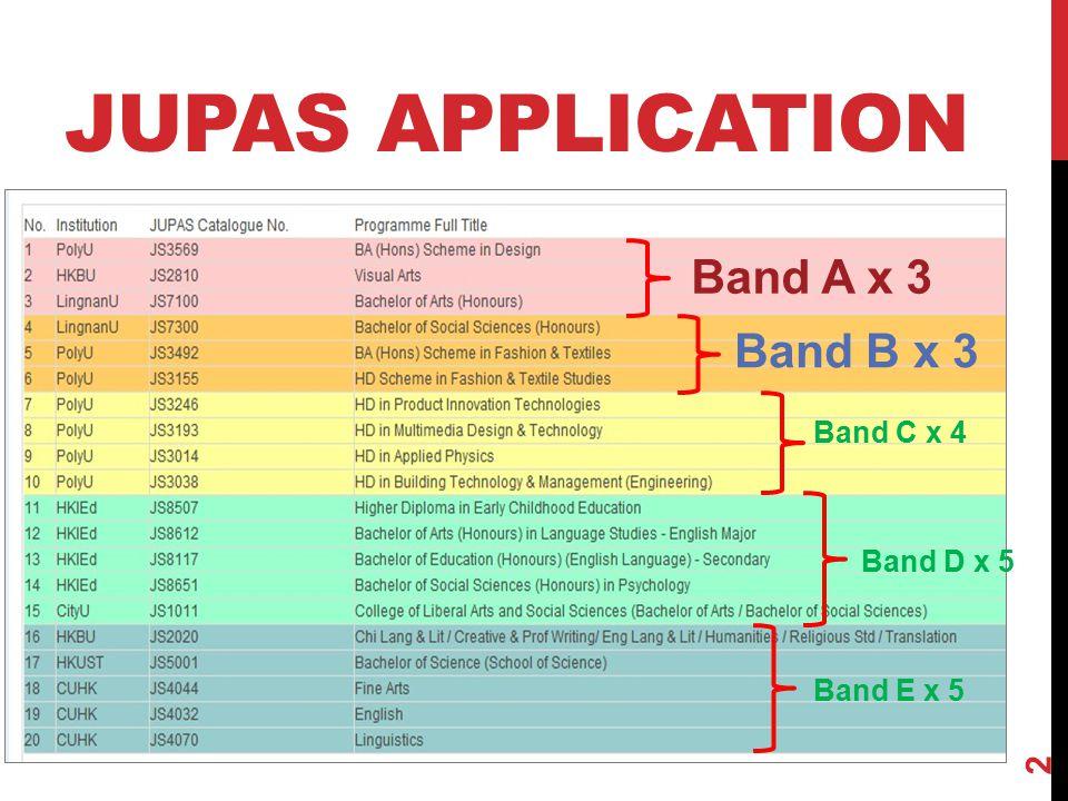 JUPAS APPLICATION Band A x 3 Band B x 3 Band C x 4 Band D x 5 Band E x 5 2