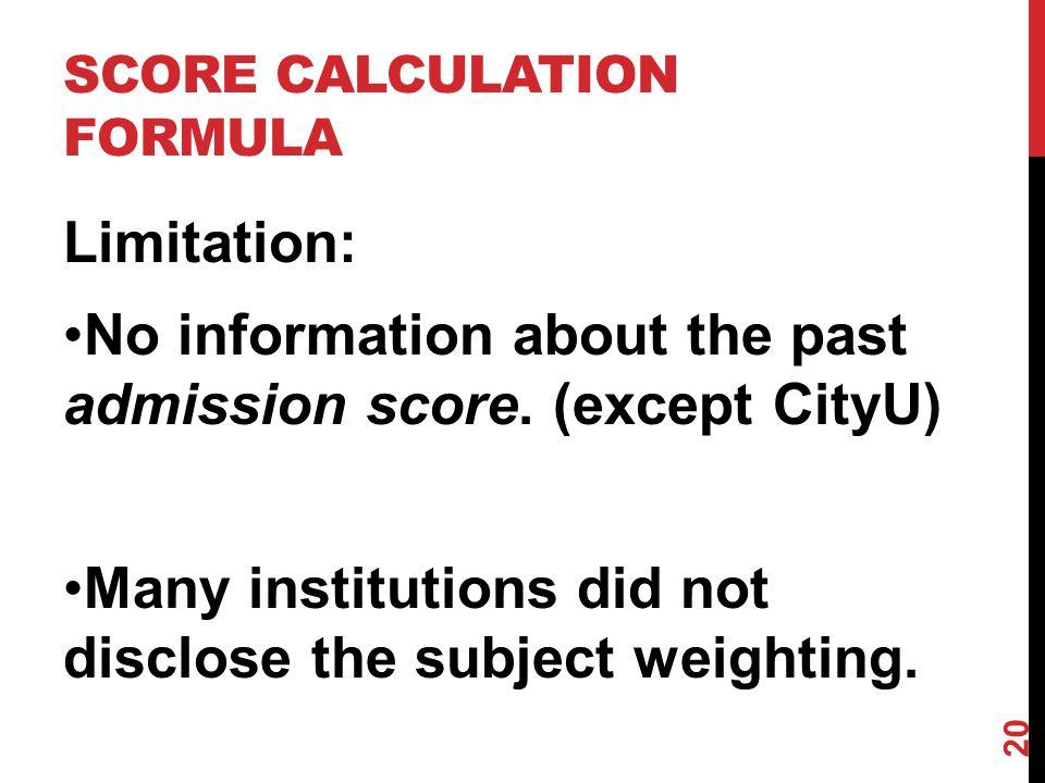 Limitation: No information about the past admission score.