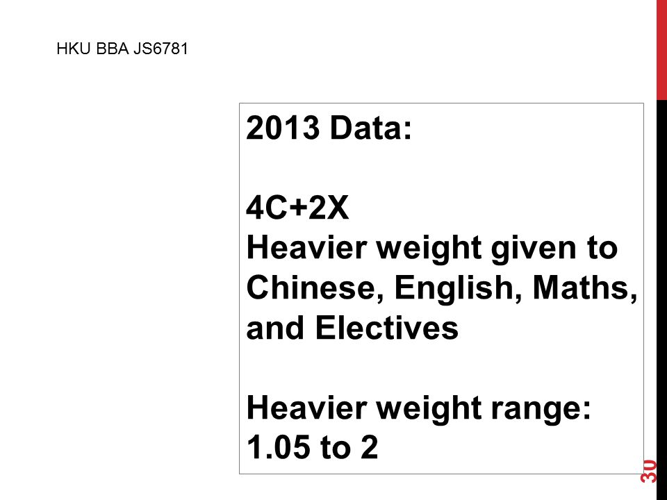 30 2013 Data: 4C+2X Heavier weight given to Chinese, English, Maths, and Electives Heavier weight range: 1.05 to 2 HKU BBA JS6781