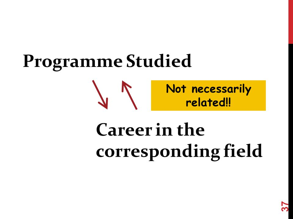 Programme Studied Career in the corresponding field Not necessarily related!! 37