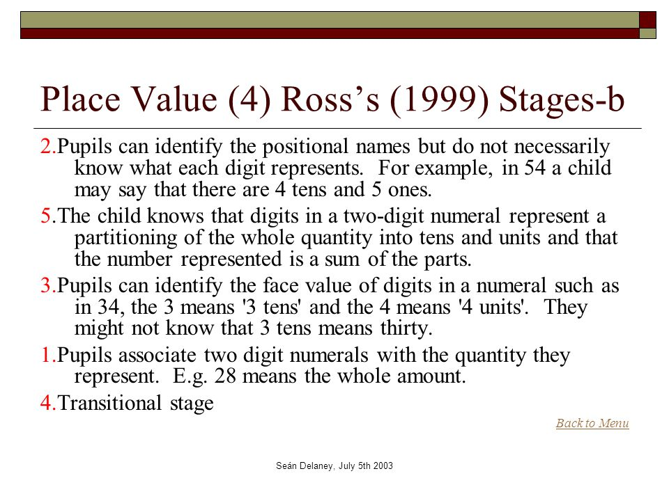 Seán Delaney, July 5th 2003 Place Value (4) Ross's (1999) Stages-b 2.Pupils can identify the positional names but do not necessarily know what each digit represents.