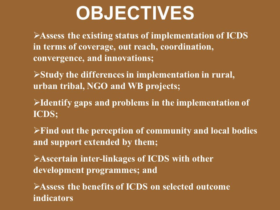 Appraisal of ICDS Management – Input Variables X1 = % of CDPOs in position X2 = % of Supervisors in position X3 = % of AWWs in position X4 = % of trained CDPOs X5 = % of trained Supervisors X6 = % of trained AWWs X7 = No.