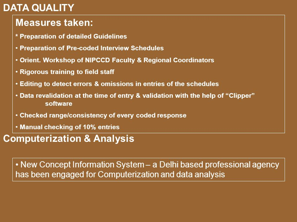 Measures taken: * Preparation of detailed Guidelines Preparation of Pre-coded Interview Schedules Orient.
