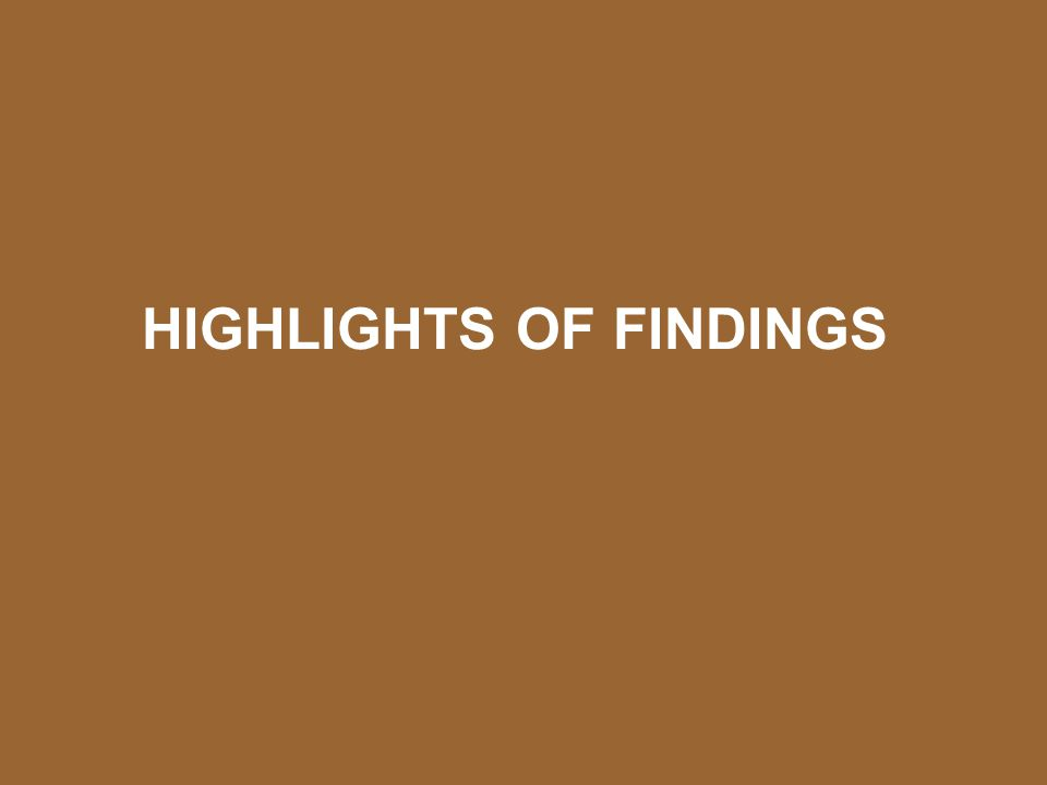 HIGHLIGHTS OF FINDINGS