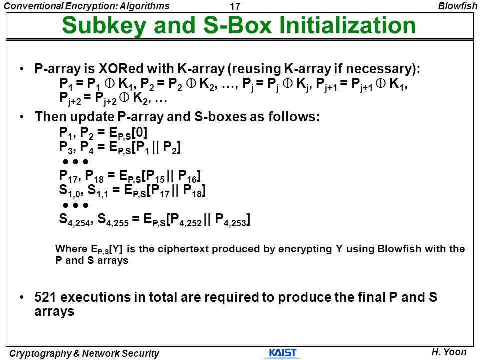 17 Conventional Encryption: Algorithms Cryptography & Network Security H. Yoon Subkey and S-Box Initialization P-array is XORed with K-array (reusing