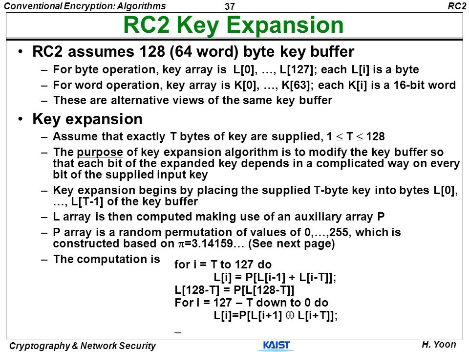 37 Conventional Encryption: Algorithms Cryptography & Network Security H. Yoon RC2 Key Expansion RC2 assumes 128 (64 word) byte key buffer –For byte o