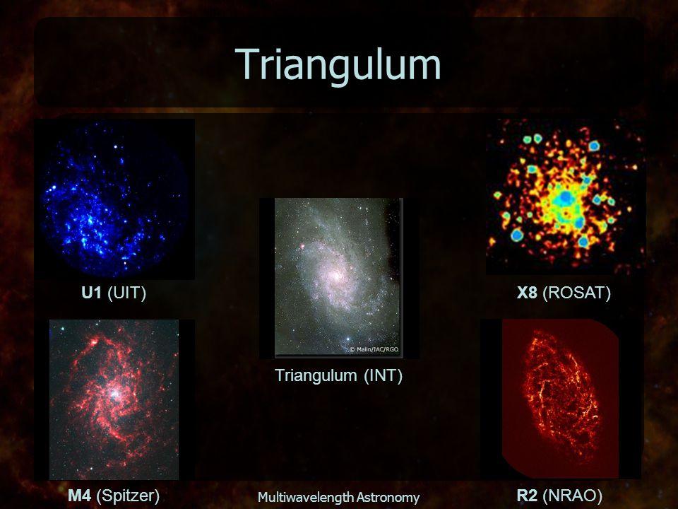 Multiwavelength Astronomy Triangulum Triangulum (INT) U1 (UIT) X8 (ROSAT) M4 (Spitzer)R2 (NRAO)