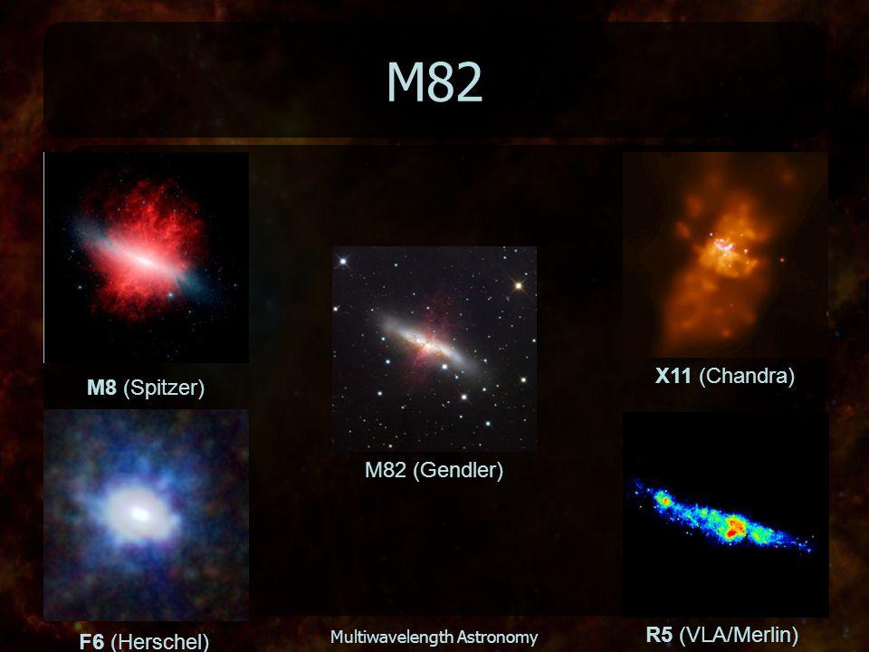 Multiwavelength Astronomy M82 M82 (Gendler) X11 (Chandra) F6 (Herschel) R5 (VLA/Merlin) M8 (Spitzer)