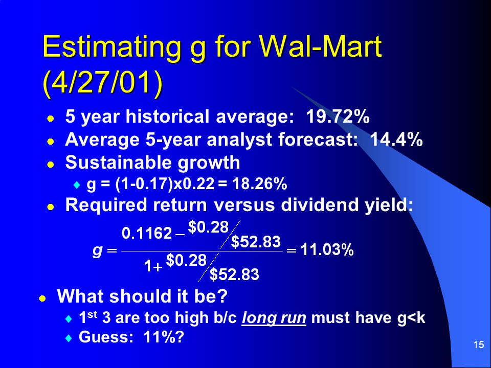 15 Estimating g for Wal-Mart (4/27/01) l What should it be?  1 st 3 are too high b/c long run must have g<k  Guess: 11%? l l 5 year historical avera