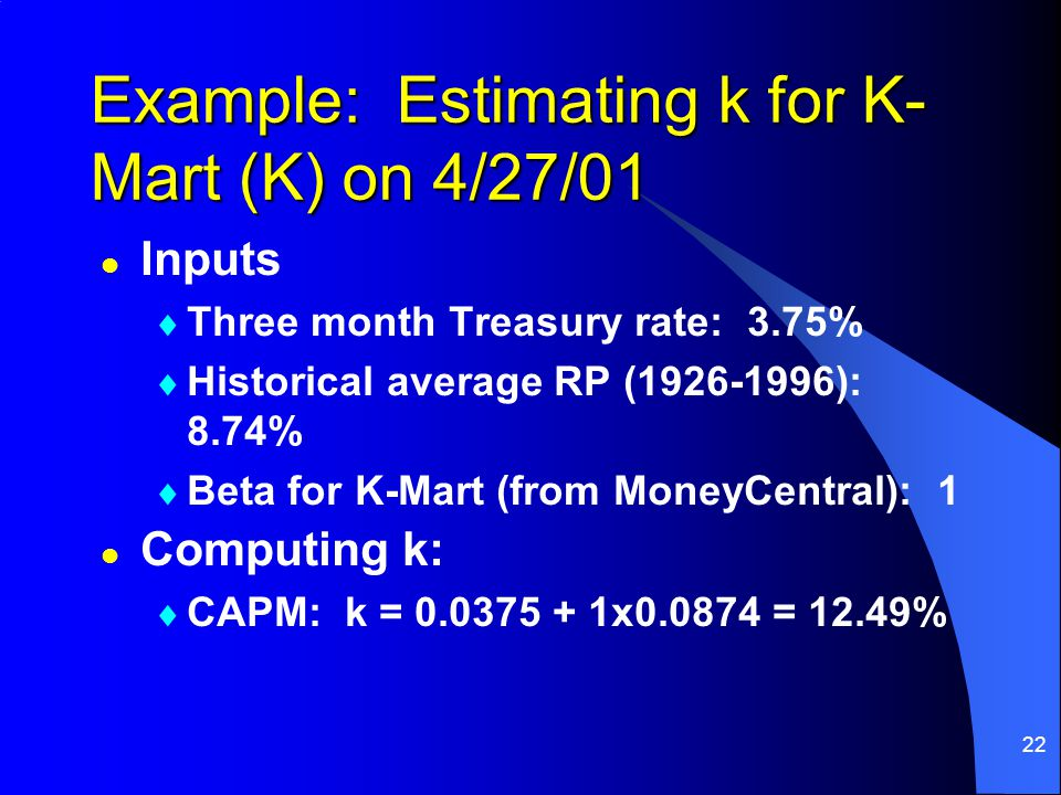 22 Example: Estimating k for K- Mart (K) on 4/27/01 l Inputs  Three month Treasury rate: 3.75%  Historical average RP (1926-1996): 8.74%  Beta for K-Mart (from MoneyCentral): 1 l Computing k:  CAPM: k = 0.0375 + 1x0.0874 = 12.49%
