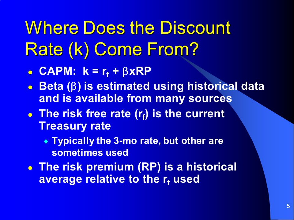 5 Where Does the Discount Rate (k) Come From.
