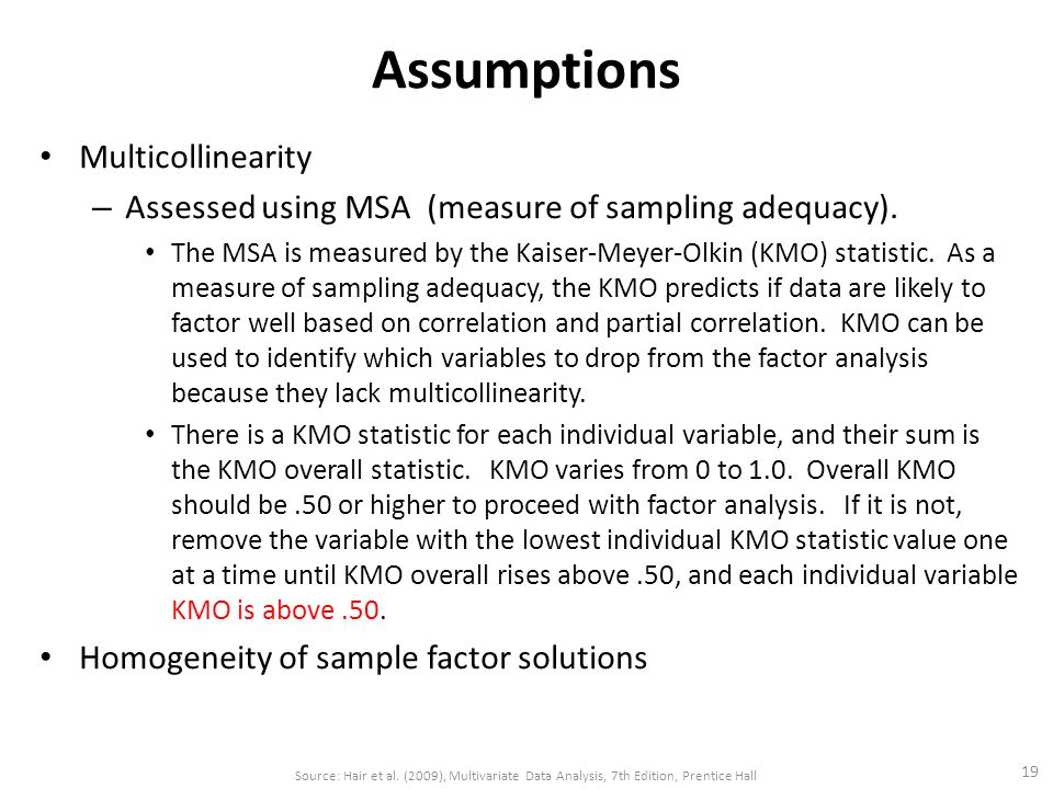 Assumptions Multicollinearity – Assessed using MSA (measure of sampling adequacy).