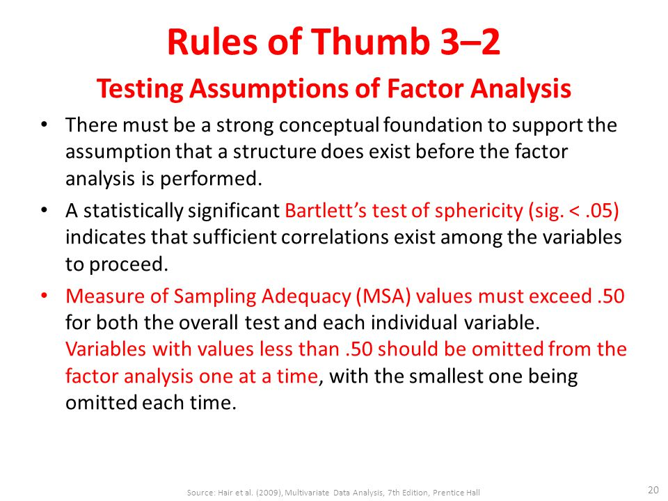 Rules of Thumb 3–2 Testing Assumptions of Factor Analysis There must be a strong conceptual foundation to support the assumption that a structure does exist before the factor analysis is performed.