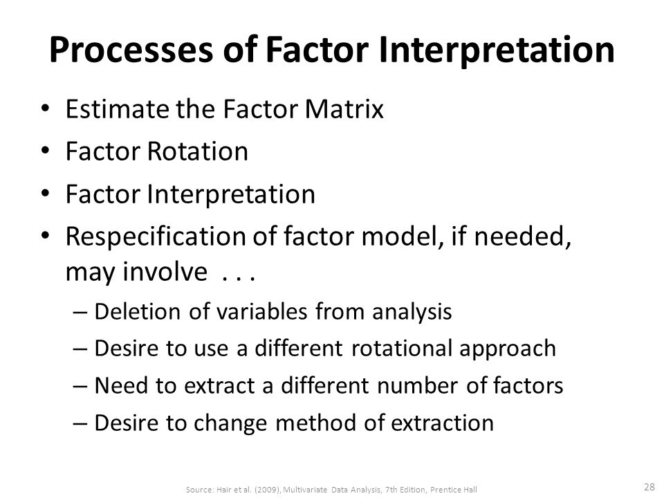 Processes of Factor Interpretation Estimate the Factor Matrix Factor Rotation Factor Interpretation Respecification of factor model, if needed, may involve...