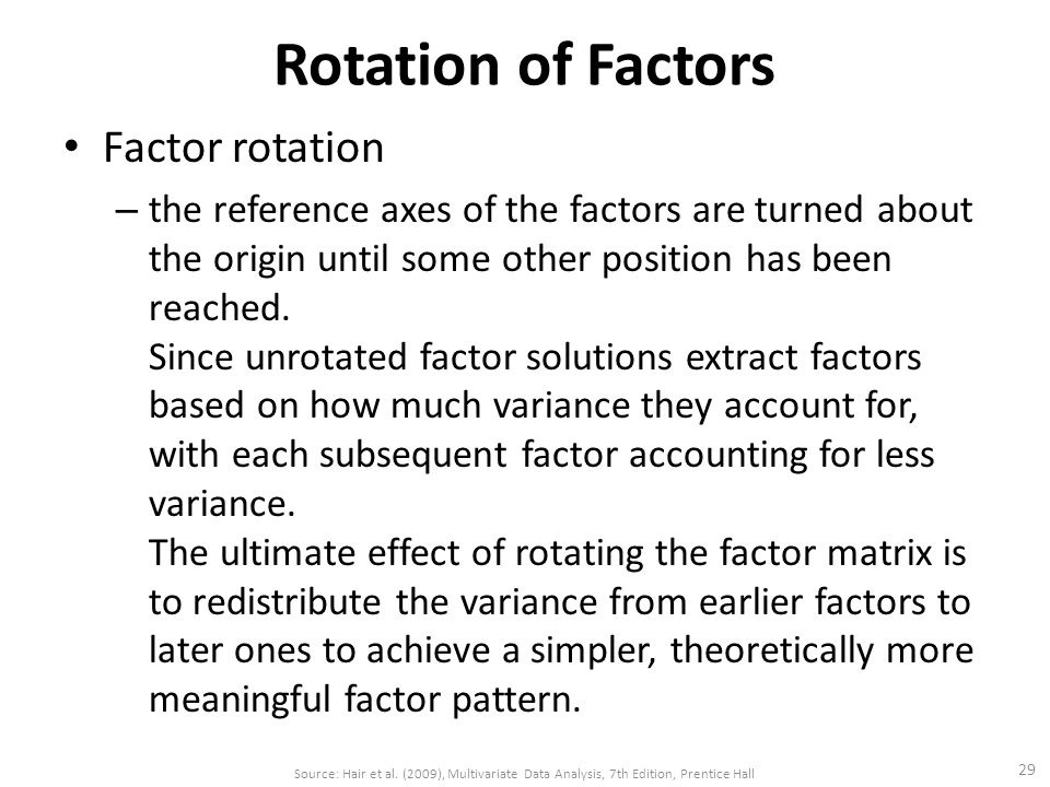 Rotation of Factors Factor rotation – the reference axes of the factors are turned about the origin until some other position has been reached.