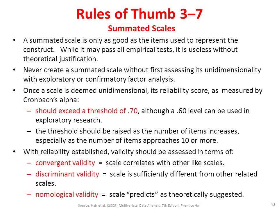 Rules of Thumb 3–7 Summated Scales A summated scale is only as good as the items used to represent the construct.