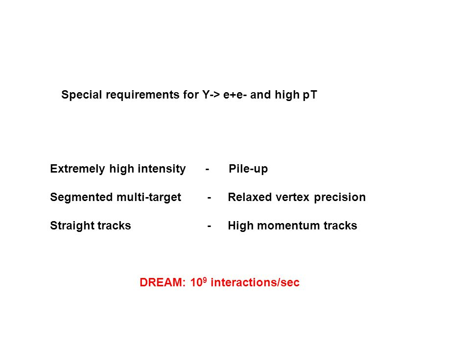Special requirements for Y-> e+e- and high pT Extremely high intensity - Pile-up Segmented multi-target - Relaxed vertex precision Straight tracks - High momentum tracks DREAM: 10 9 interactions/sec