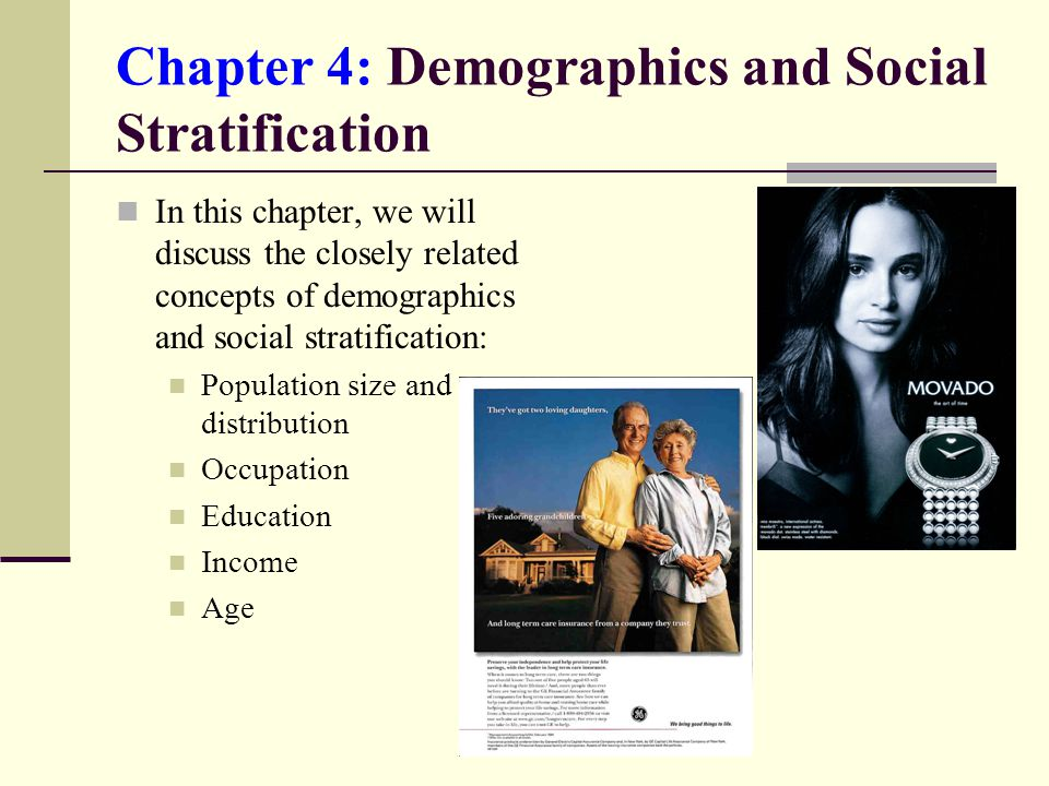 Chapter 4: Demographics and Social Stratification In this chapter, we will discuss the closely related concepts of demographics and social stratification: Population size and distribution Occupation Education Income Age