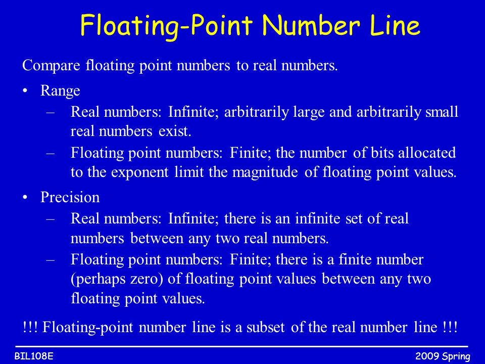 2009 SpringBIL108E Compare floating point numbers to real numbers. Range –Real numbers: Infinite; arbitrarily large and arbitrarily small real numbers