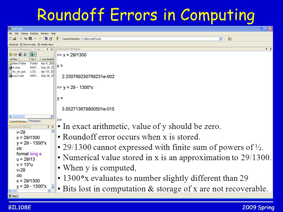 2009 SpringBIL108E In exact arithmetic, value of y should be zero. Roundoff error occurs when x is stored. 29/1300 cannot expressed with finite sum of