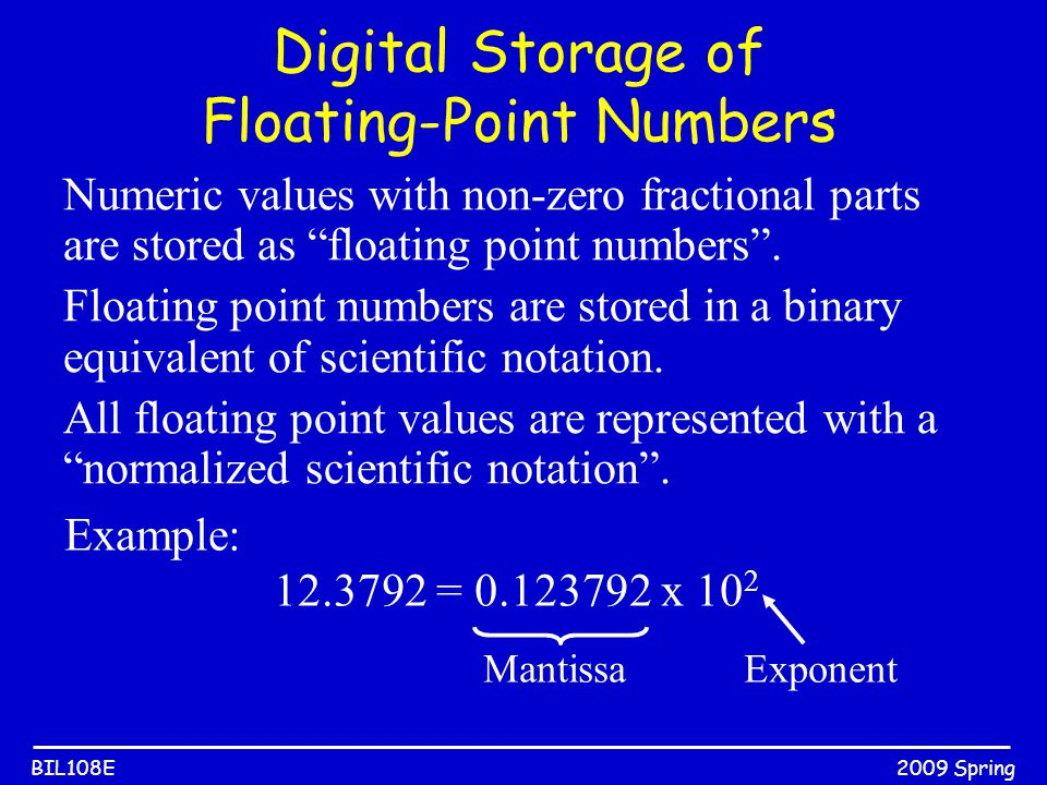"2009 SpringBIL108E Digital Storage of Floating-Point Numbers Numeric values with non-zero fractional parts are stored as ""floating point numbers"". Flo"
