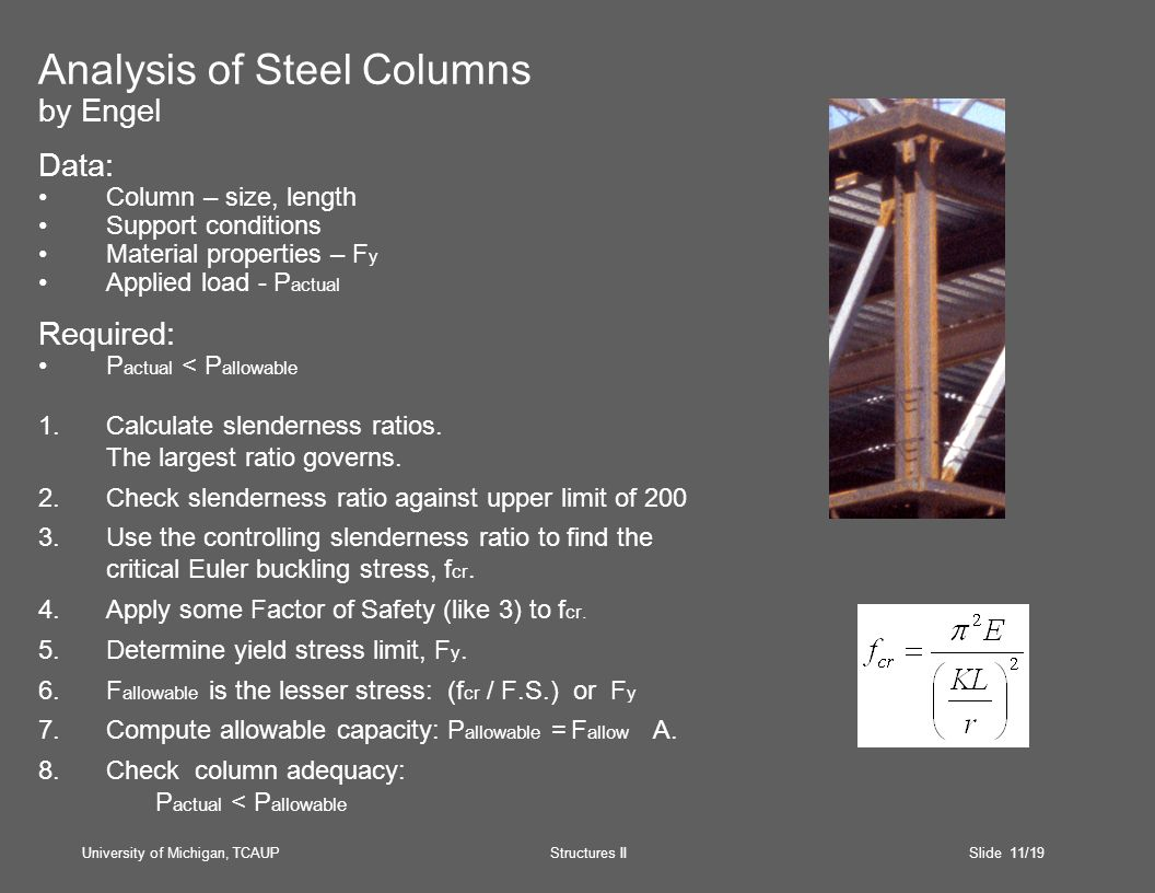 University of Michigan, TCAUP Structures II Slide 11/19 Analysis of Steel Columns by Engel Data: Column – size, length Support conditions Material properties – F y Applied load - P actual Required: P actual < P allowable 1.Calculate slenderness ratios.