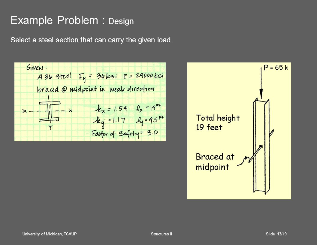 University of Michigan, TCAUP Structures II Slide 13/19 Example Problem : Design Select a steel section that can carry the given load.