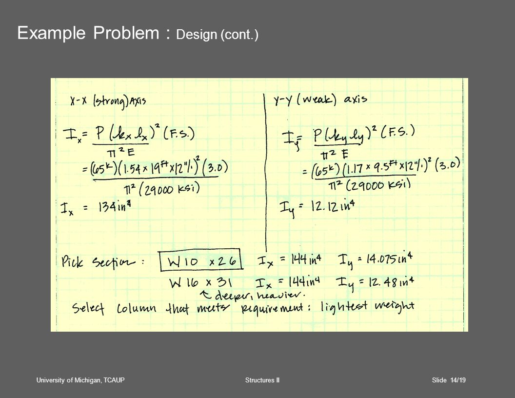 University of Michigan, TCAUP Structures II Slide 14/19 Example Problem : Design (cont.)