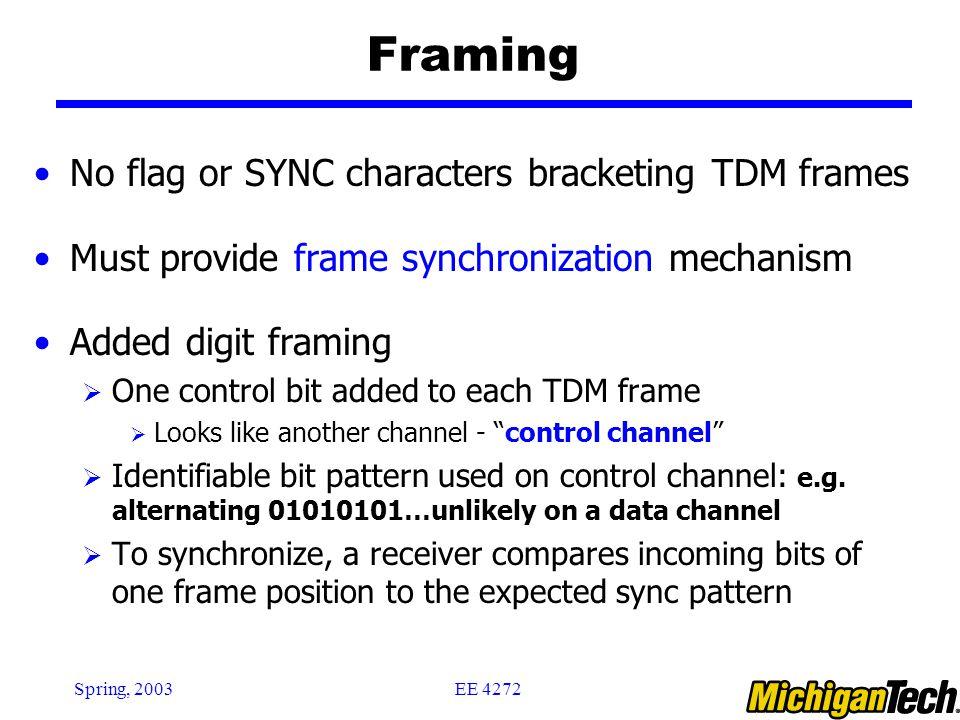 EE 4272Spring, 2003 Framing No flag or SYNC characters bracketing TDM frames Must provide frame synchronization mechanism Added digit framing  One co