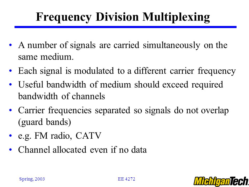 EE 4272Spring, 2003 A C B f C f B f A f W W W 0 0 0 Individual signals occupy W Hz The transmission channel bandwidth is divided into a number of frequency slots, each of which can accommodate the signal of an individual connection; Multiplexer assigns a frequency slot to each connections and uses modulation to place the signal of the connection in the appropriate slot Frequency Division Multiplexing