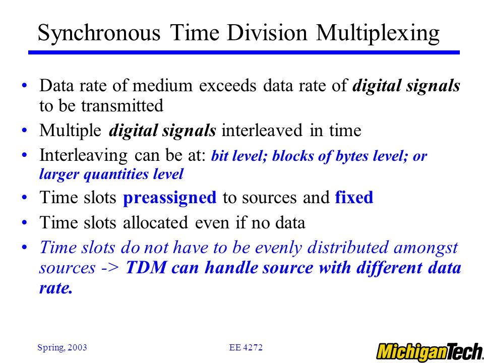 EE 4272Spring, 2003 Synchronous Time Division Multiplexing Data rate of medium exceeds data rate of digital signals to be transmitted Multiple digital