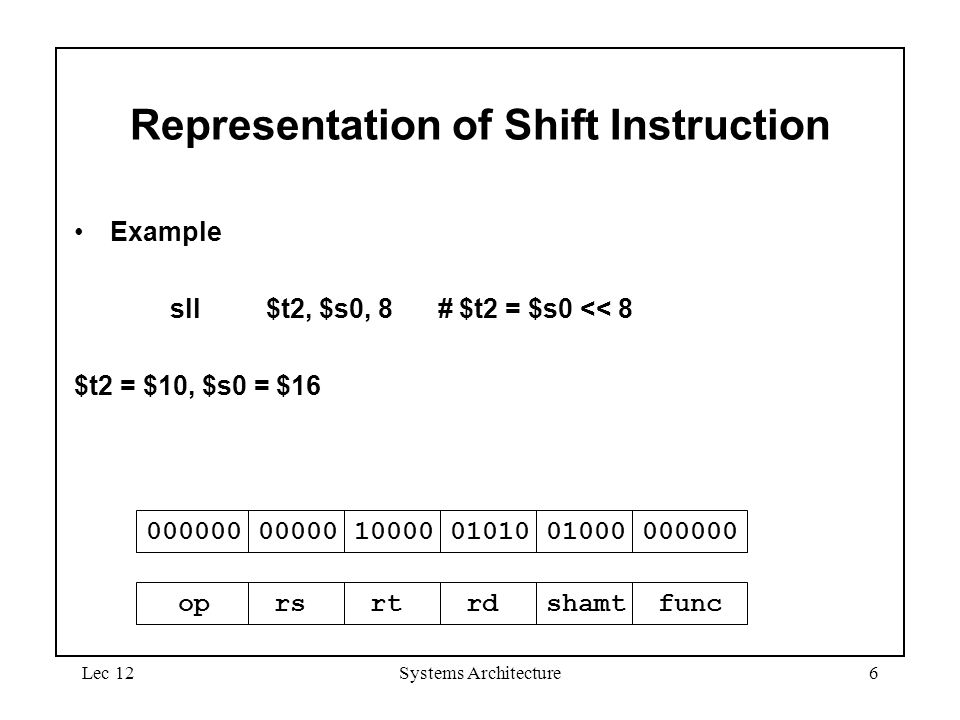 Lec 12Systems Architecture6 Representation of Shift Instruction Example sll$t2, $s0, 8 # $t2 = $s0 << 8 $t2 = $10, $s0 = $16 000000 00000 10000 01010 01000 000000 op rs rt rd shamt func