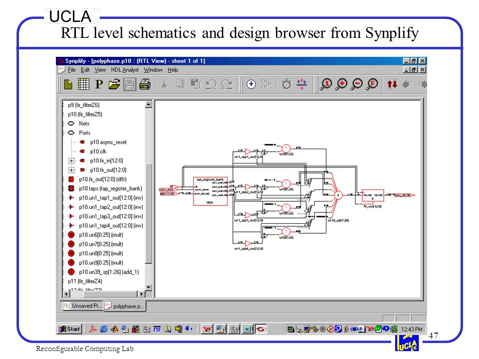47 Reconfigurable Computing Lab UCLA RTL level schematics and design browser from Synplify