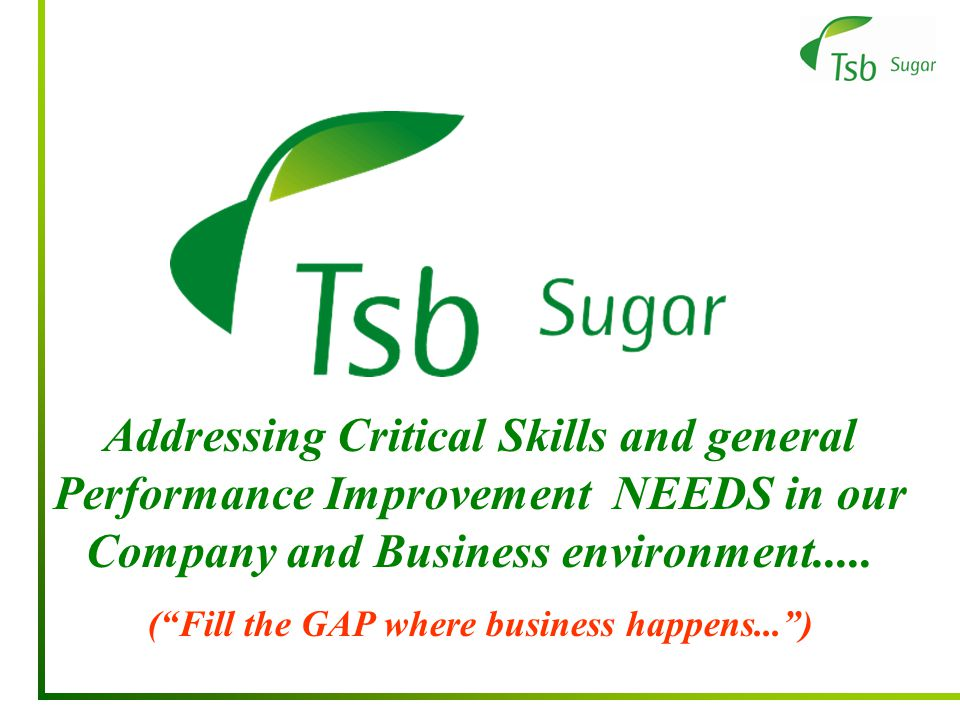 Addressing Critical Skills and general Performance Improvement NEEDS in our Company and Business environment.....