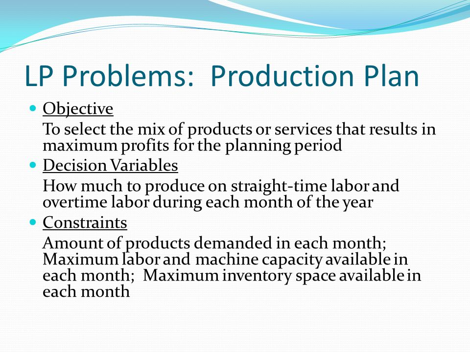 Recognizing LP Problems Characteristics of LP Problems A well-defined single objective must be stated.