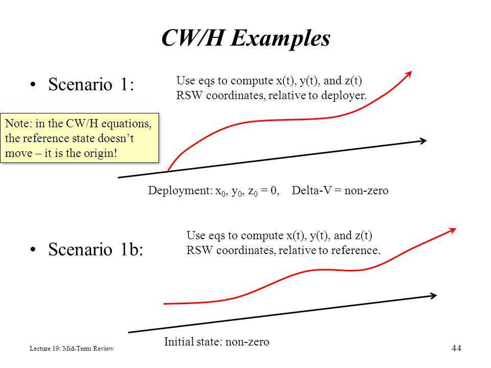 CW/H Examples Scenario 1: Scenario 1b: Lecture 19: Mid-Term Review 44 Deployment: x 0, y 0, z 0 = 0, Delta-V = non-zero Use eqs to compute x(t), y(t),
