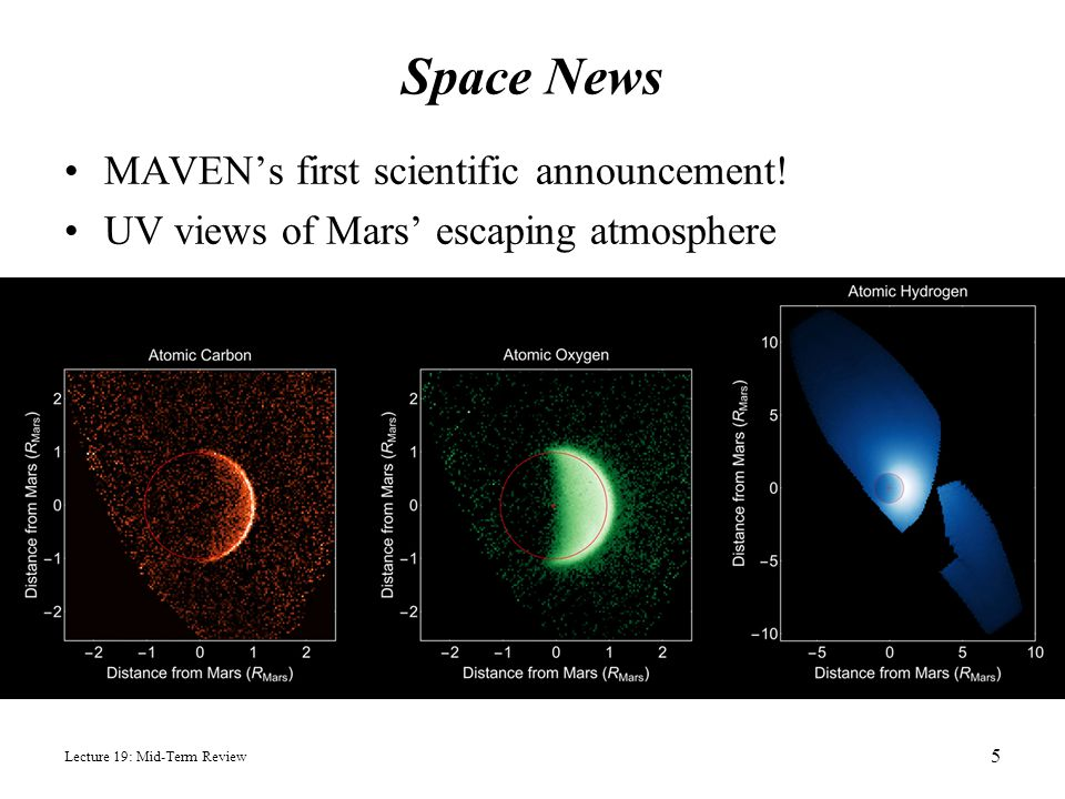 Space News Lecture 19: Mid-Term Review 5 MAVEN's first scientific announcement! UV views of Mars' escaping atmosphere