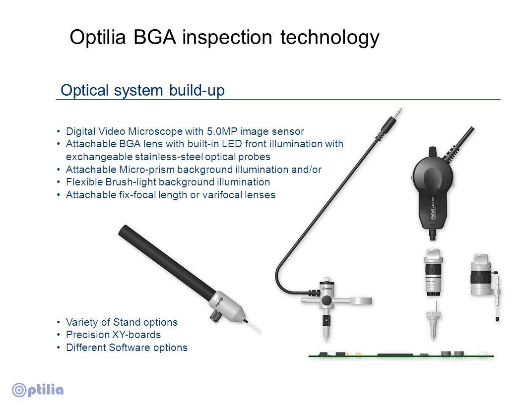 Light cone from Micro prism Battery adapter 2xAA Light cone from flexible fiber bundle Optilia BGA inspection technology New technology long-life multi-LED illumination system Built-in High intensity front LED light with electronic Dimmer.