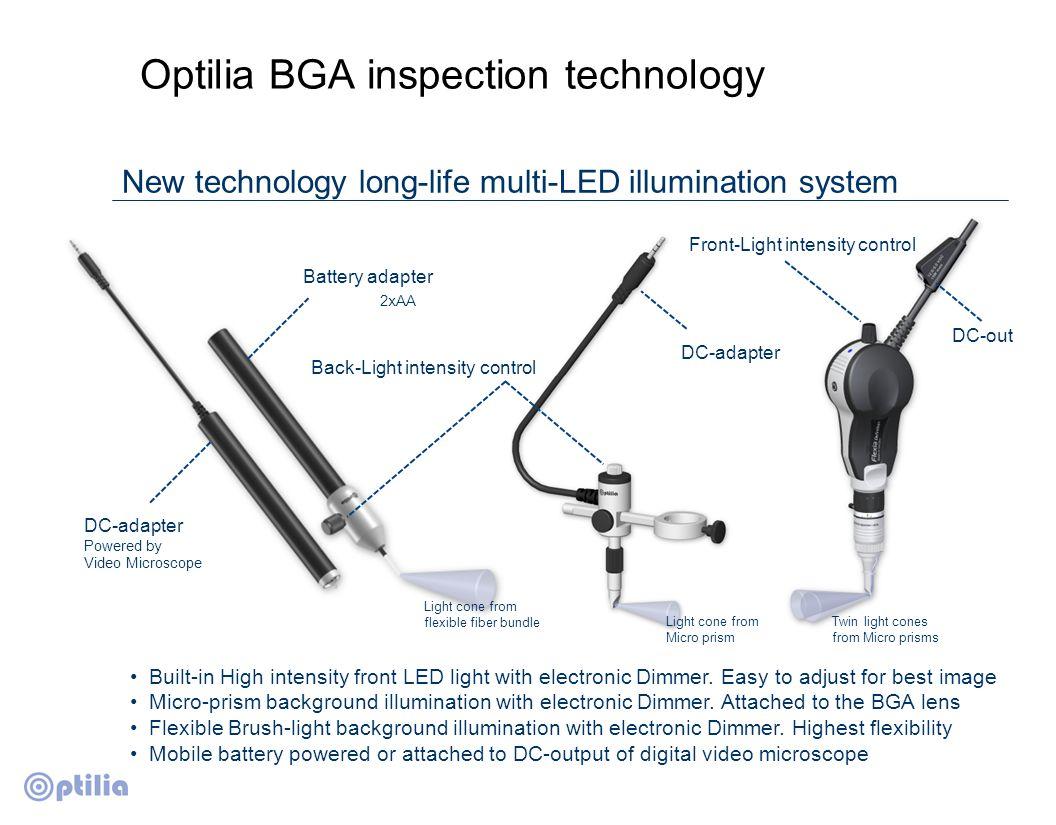 Optilia BGA inspection technology Illumination impact on image BGA solder ball illuminated by front incident light only.